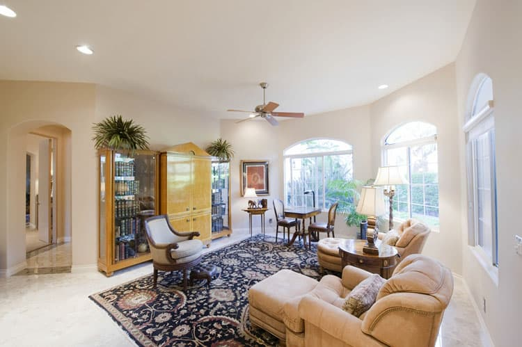 This Living Room Proves That Ceiling Fans Work Even In The Most Refined Of  Living Spaces. Matching Chaise Armchairs Are The Ideal Place To Curl Up  With A ...