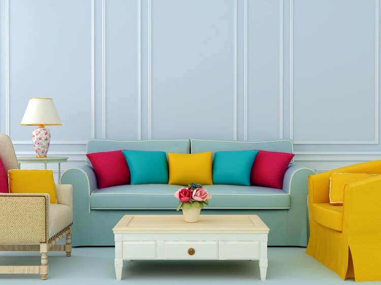 The Color Palette In This Living Room Includes Shades Of Yellow Turquoise Red And Light Blue Complementary Colors Traditional Furniture Style
