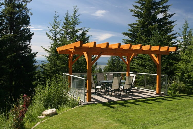 When Planning Your Backyard Landscape, Consider Using A Pergola To Cover A  Seating Or Dining Area. This One Is Constructed Of Solid Redwood, Which  Gives The ...
