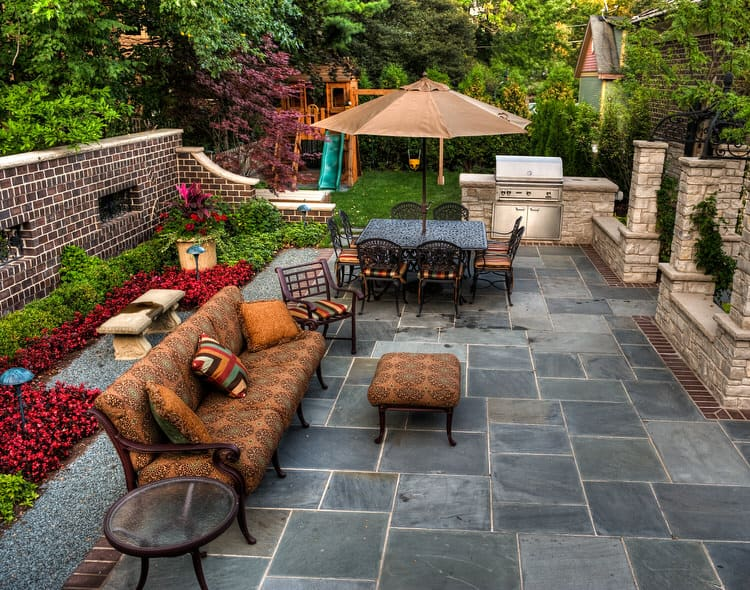 This Mediterranean Inspired Patio Is An Earthy Oasis In The City. A Stone  Fountain Adds Old World Charm And Along With The Walls, Helps Block The  Sights And ...